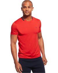 Tommy Hilfiger Collar Stripe V-Neck T-Shirt red - Lyst