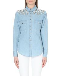 Emanuel Ungaro Embellished Denim Shirt - Lyst