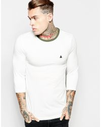 ASOS | Muscle 3/4 Sleeve T-shirt With Contrast Neck & Embroidery | Lyst