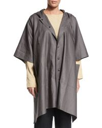 Eskandar - Hooded Button-front Raincoat Poncho - Lyst