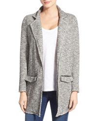 Pleione | Long Knit Notch Collar Jacket | Lyst