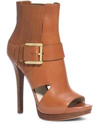 Michael Kors Lucinda Open-Toe Leather Ankle Boot - Lyst