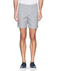 Band of Outsiders Glen Plaid Cotton-Linen Shorts gray - Lyst