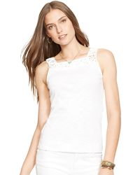 Ralph Lauren Sleeveless Macramé Top - Lyst