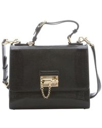 Dolce & Gabbana Black Iguana Embossed Leather Monica Top Handle Bag - Lyst