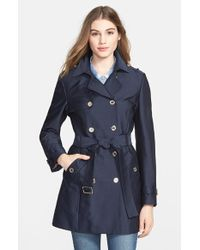 Calvin Klein Double-Breasted Satin Trench Coat - Lyst
