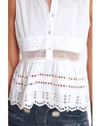 Suno Embroidered Babydoll Top - Lyst