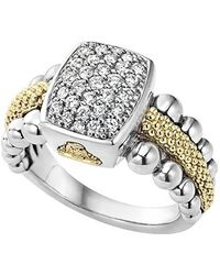Lagos | Diamond Caviar Square Ring | Lyst