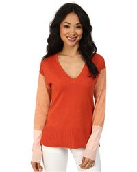 Lacoste Long Sleeve Color Block V-Neck Sweater - Lyst