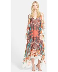 Etro Print Cold Shoulder Silk Caftan Dress - Lyst