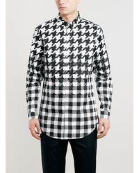 Topman Premium Dogtooth Print Longline Long Sleeve Smart Shirt - Lyst