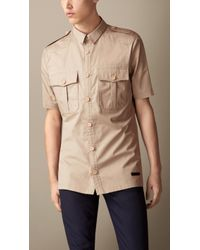 Burberry Cotton Twill Military Shirt - Lyst