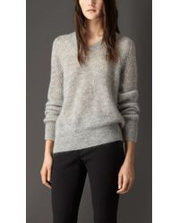 Burberry Mohair Blend Scoop Neck Sweater - Lyst