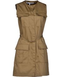 Victoria Beckham Khaki Short Dress - Lyst