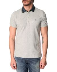 Diesel Basileus Marled Grey Denim Collar Polo Shirt - Lyst