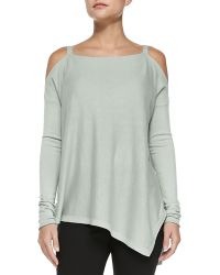 Donna Karan New York Cashmere Cold-shoulder Asymmetric Top - Lyst