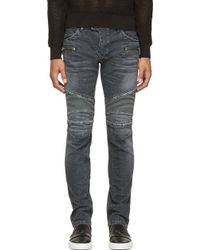 Balmain Washed Black Ribbed Biker Jeans - Lyst