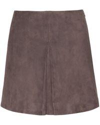 Miu Miu Brown Suede Miniskirt - Lyst