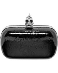Alexander McQueen Ivy Patent Leather Skull Box Clutch - Lyst
