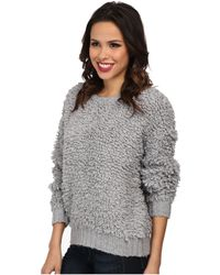 MICHAEL Michael Kors Long Sleeve Knitted Fur Crew Neck - Lyst