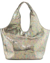 Romy Gold Iridescent Snake-Embossed Hobo Bag - Lyst
