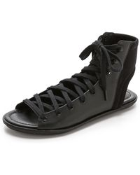 Schutz Lina Lace Up Sandals In Black Lyst