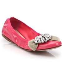 Miu Miu | Jeweled Patent Leather Ballet Flats | Lyst