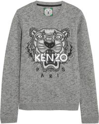 Kenzo Tiger Embroidered Cotton Sweatshirt - Lyst