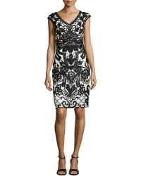 Sue Wong Cap-Sleeve Lace Embroidered Sheath Dress - Lyst