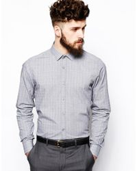 Asos Smart Shirt In Long Sleeve With Prince Of Wales Check - Lyst