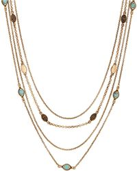 Lucky Brand - Heritage Holiday Turquoise Nested Chain Necklace - Lyst