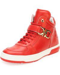 Ferragamo Nayon Gancini High-top Sneaker - Lyst