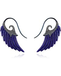 Noor Fares Fly Me To The Moon Lapis Lazuli Wing Earrings - Lyst