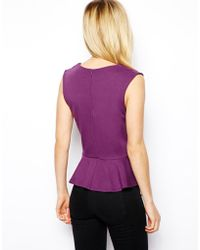 Asos Peplum Top with Lace Inserts - Lyst