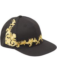 Versace Black Baroque Cotton Cap - Lyst