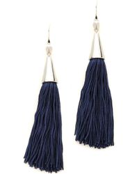 Eddie Borgo Small Silk Tassel Earrings Blue - Lyst