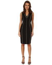 Versace Studded V-Neck Sheath Dress black - Lyst