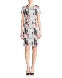 Suno Knit Metallic Geometric-Print Sheath Dress gray - Lyst