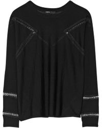 Maje Gravure Lace Paneled Wool Sweater - Lyst