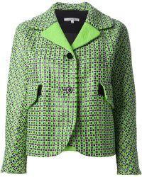 Carven Textured Check Tweed Jacket - Lyst