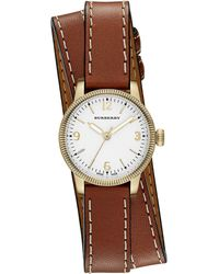 Burberry Ladies Utilitarian Leather Wrap Watch - Lyst
