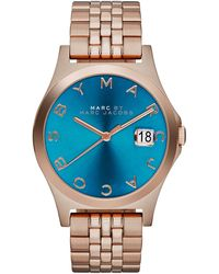 Marc By Marc Jacobs 36mm The Slim Rose Golden Watch with Bracelet Turquoise Dial - Lyst