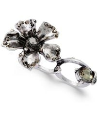 City By City - Silver-tone Crystal Flower Two-finger Ring - Lyst