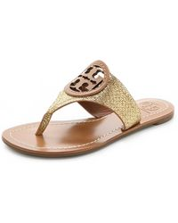 Tory Burch Louisa Thong Sandals Goldnew Tan - Lyst