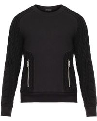 Balmain Cotton and Cableknit Wool Sweater - Lyst