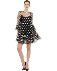 Dolce & Gabbana Polka Dot Embroidered Tulle Dress - Lyst
