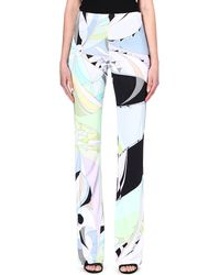 Emilio Pucci Printed Wideleg Trousers Green - Lyst