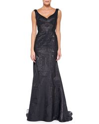 Lela Rose V-neck Gown with Sheer Insets - Lyst