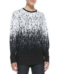 Helmut Lang Printed Longsleeve Knit Top Black Multi Medium - Lyst