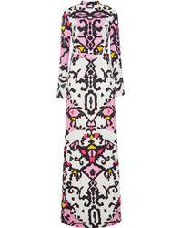 MSGM Long Sleeved Printed Maxi Dress - Lyst